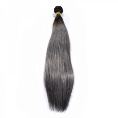 New Star 1B/Gray Straight Hair Bundle Silver Gray Hair Weave with Dark Root