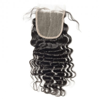 Premium Donor Virgin Hair Top Quality 4*4 Deep Wave Free Part Transparent Lace Closure