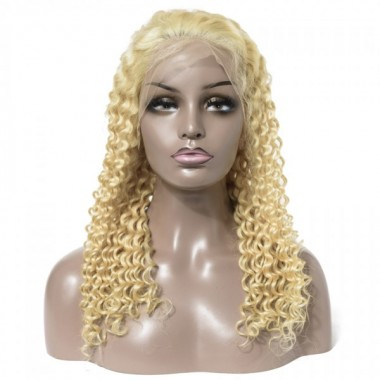Premium Donor Brazilian #613 Deep Wave Lace Frontal Wig 13*4 Lace Frontal Blonde Wig 180% Density