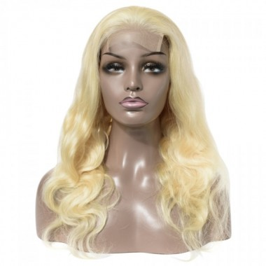 Premium Donor Brazilian #613 Virgin Human Hair Wig Honey Blonde 4*4 Body Wave Lace Closure Wig 180% Density