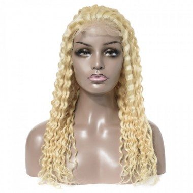 Premium Donor Brazilian 4*4 613 Blonde Deep Wave Lace Closure Wig 180% Density