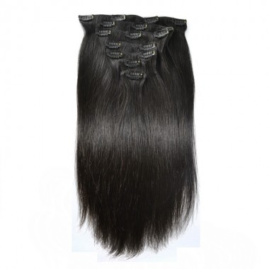7 Pcs/Set Brazilian Straight Clip-in Virgin Hair Extensions 16-Clip Natural Black Extensions 14 16 18 Inches