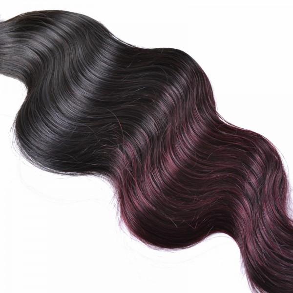Brazilian Human Virgin Hair 1b 99j Burgundy Ombre Hair Weave Body