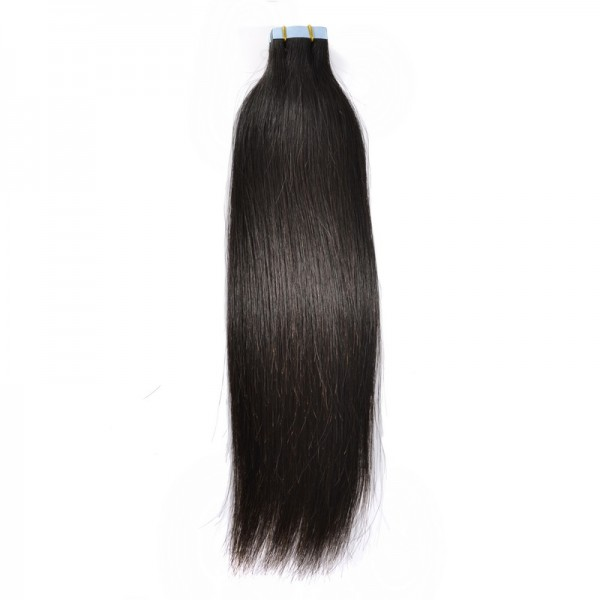 Natural Black Tape In Brazilian Human Virgin Hair Extensions Skin
