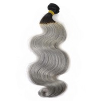 New Star Silver Gray Body Wave Bundle 1B/Gray Human Remy Hair Weave with Dark Root
