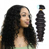 1 Bundle Malaysian Deep Wave Virgin Hair Weave Natural Color Wavy Human Hair Extension