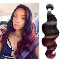 Brazilian Human Virgin Hair 1B 99J Burgundy Ombre Hair Weave Body Wave