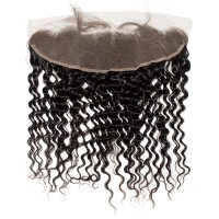 Premium Donor Virgin Hair Top Quality 13*4 Deep Wave Free Part Lace Frontal