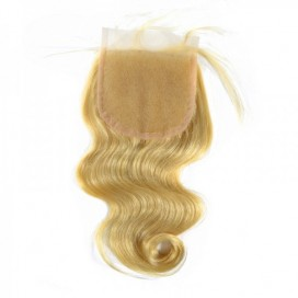Premium Donor Virgin Hair Top Quality 4*4 Blonde #613 Body Wave Lace Closure