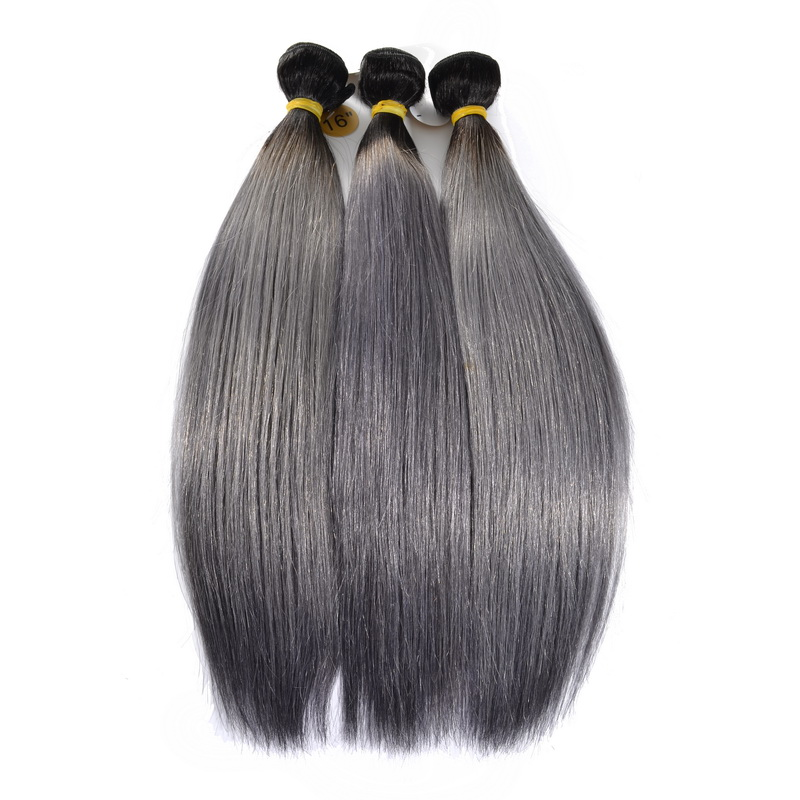 Ombre Grey Straight Hair