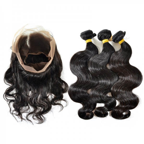 Brazilian Body Wave Bundles with 360 Lace Frontal