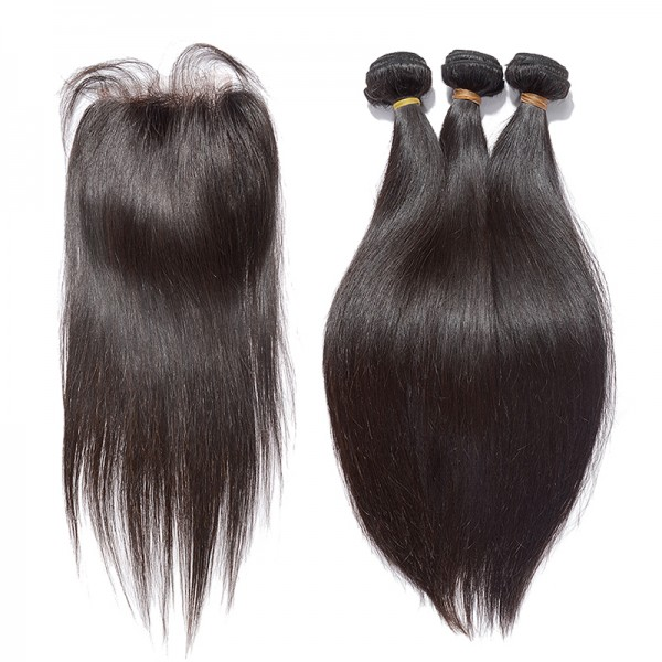 Brazilian Virgin Hair Straight Bundles with Free Part Closure