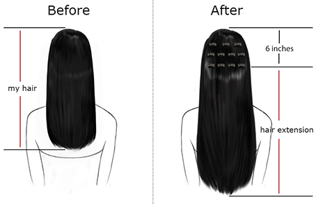 Hair Extension Before and After